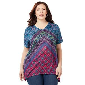 Catherines Size 0X Painted Canyon Polyester Embellished Top