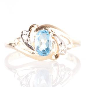 14k Yellow Gold Oval Cut Topaz & Single Cut Diamond Solitaire Ring .59ctw