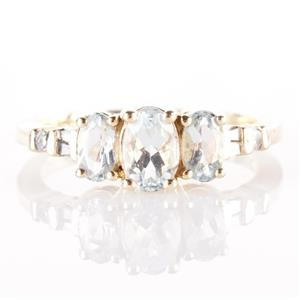 10k Yellow Gold Oval Cut Aquamarine & Diamond Three-Stone Ring .87ctw