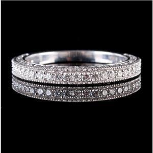 14k White Gold Round Cut Diamond Vintage Style Wedding / Anniversary Band .25ctw