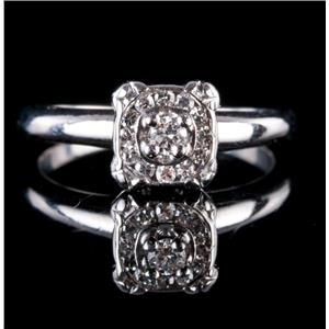 Vintage 1930's 14k White Gold Round Cut Diamond Solitaire Engagement Ring .18ct