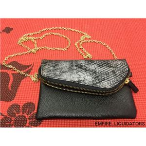 "Unused - Small 7 1/2"" Handbag/Purse with Gold Chain - Black/Silver"