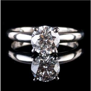 14k White Gold & Platinum Round Cut Leo Diamond Solitaire Engagement Ring 1.0ct