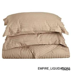 Superior 300 Thread Count Stripe Cotton Sateen Duvet Cover Set (Twin Taupe) -A