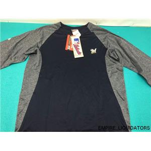 NEW - Majestic Youth Medium Brewers 3/4 Sleeve Crew Fleece Pullover w/ Tags -A