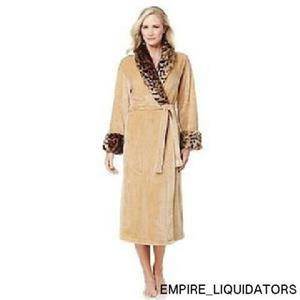 UNUSED - Women's Adrienne Landau Plush Robe with Faux Fur Trim Tan Size M/L -A