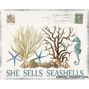 "11"" X 14""  Wooden She Sells Seashells Wall Decor -A"