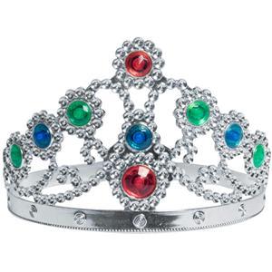 Silver Metallic Plated Jewelled Queen's Tiara Adjustable Queen Princess Crown