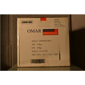 (CASE OF 1000) Omar Powder Free Vinyl Gloves, Food Service NSF, Size Small
