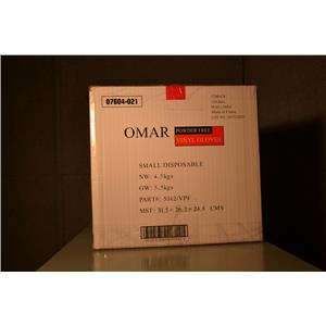 (CASE OF 1200) Omar Powder Free Vinyl Gloves, Food Service NSF, Size Small