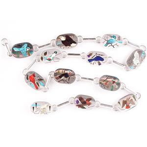 "Stunning Sterling Silver Harlan Coonsis Zuni Multi-Stone Inlay Bird Belt 35"""