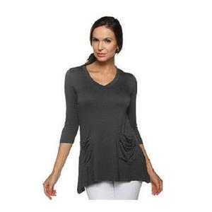LOGO by Lori Goldstein Size 2X Slate V-neck Tee with 3/4 Sleeves & Pocket Detail