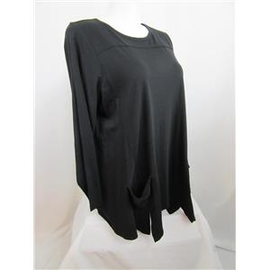 LOGO by Lori Goldstein Size 2X Slub Knit Top with Front Pockets in Black