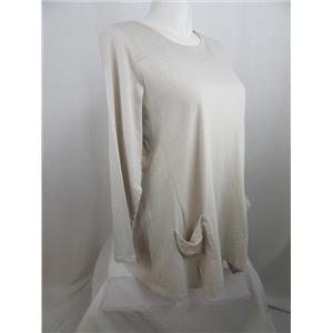 LOGO by Lori Goldstein Size 2X Slub Knit Top with Front Pockets in White Sand