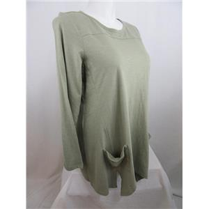 LOGO by Lori Goldstein Size 1X Slub Knit Top with Front Pockets in Meadow Green