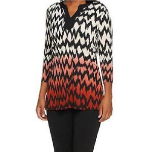 Susan Graver Size XXS Liquid Knit 3/4 Sleeve Chevron Print Ombre Tunic in Red