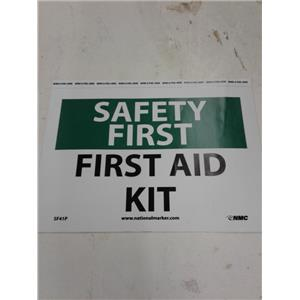 "Nmc SF41P Osha Sign, Safety First - First Aid Kit, 7"" X 10"", White/Green/Black"