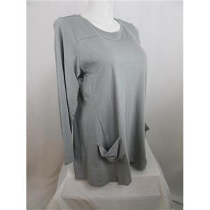 LOGO by Lori Goldstein Size 1X Slub Knit Top with Front Pockets in London Blue