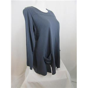 LOGO by Lori Goldstein Size 2X Slub Knit Top with Front Pockets in Twilight Grey