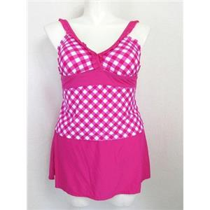Catalina Women's Size 2X Pretty in Pink Tankini Top w/ Skirt Panty Bottom
