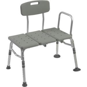 Drive Medical Plastic Tub Transfer Bench with Adjustable Backrest - 12011kd-1