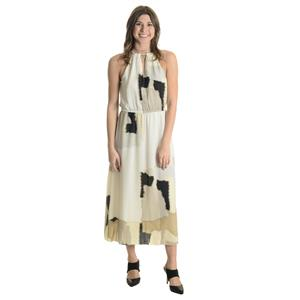 8 NWT Kensie Retro Chiffon Maxi Dress Rope Necklace Halter White/Beige/Black