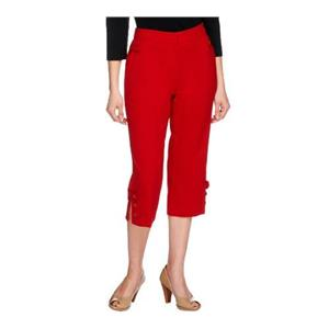 Susan Graver Size 2X Bright Red Chelsea Stretch Capri Pants w/Button Tab & Slit