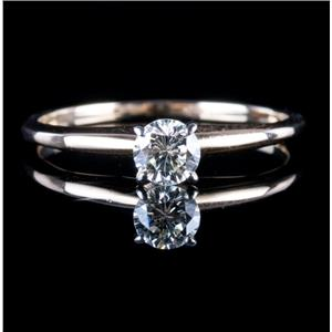 14k Yellow & White Gold Round Cut Diamond Solitaire Engagement Ring .31ct