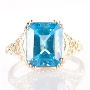 14k Yellow Gold Emerald Cut Swiss Blue Topaz Solitaire Cocktail Ring 5.75ct