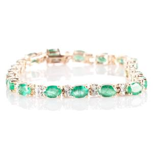 14k Yellow Gold Oval Cut Emerald & Diamond Tennis Bracelet 10.60ctw