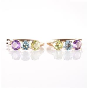 14k Yellow Gold Round Cut Amethyst / Aquamarine / Peridot Hoop Earrings 1.42ctw