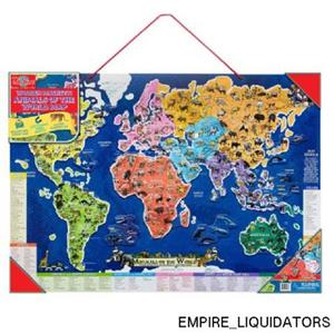 Brand New Shure Wooden Magnetic Animals of The World Map & Puzzle Ages 5+