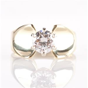 Stunning 18k Yellow Gold Round Cut Diamond Solitaire Engagement Ring 1.10ct