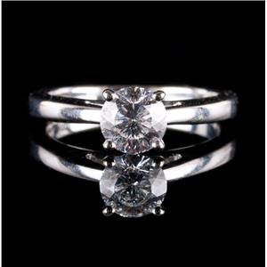 18k White Gold Round Celebration Cut Diamond Solitaire Engagement Ring .95ct