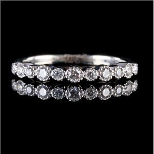 14k White Gold Round Cut Diamond Milgrain Wedding / Anniversary Band .29ctw