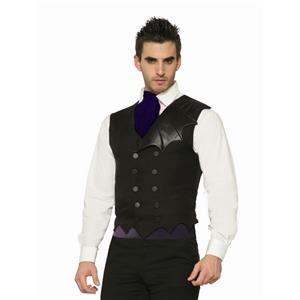 Black Bat Wing Button Up Costume Gothic Vest