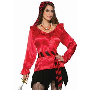 Forum Women's Red Ruffled Pirate Blouse Shirt Costume Accessory