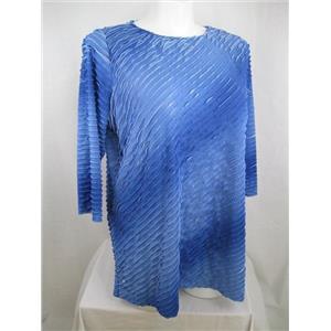 Susan Graver Size 2X Blue Bateau Neck 3/4 Sleeve Mini Ruffle Tunic