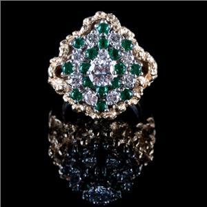 14k White & Yellow Gold Round Cut Diamond & Emerald Cocktail Ring W/ Jacket 2ctw