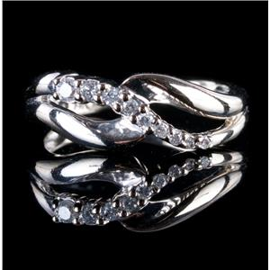 14k White Gold Round Cut Graduated Diamond Ring .20ctw
