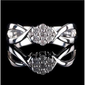 10k White Gold Round Cut Diamond Cluster Engagement Ring .25ctw