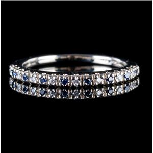 14k White Gold Round Cut Diamond & Sapphire Band .15ctw