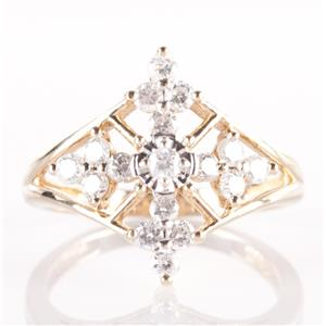 14k Yellow Gold Round Cut Diamond Cross Ring .51ctw