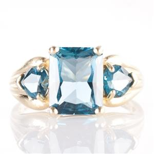 14k Yellow Gold Emerald Cut London Blue Topaz Cocktail Ring 5.39ctw