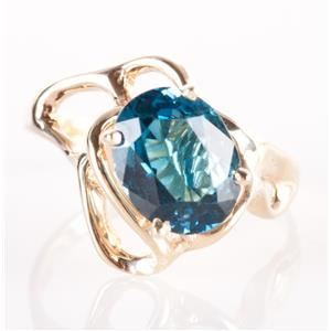14k Yellow Gold Oval Cut London Blue Topaz Solitaire Cocktail Ring 3.60ct