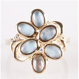 10k Yellow Gold Oval Cut Opal Triplet & Diamond Floral Cocktail Ring .01ctw