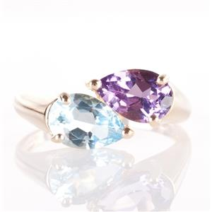14k Yellow Gold Pear Cut Sky Blue Topaz & Amethyst Bypass Ring 2.35ctw