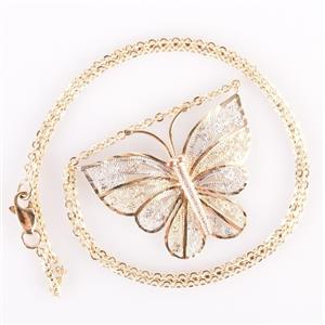 10k Yellow / White / Rose Gold Tri-Color Butterfly Necklace 5.3g
