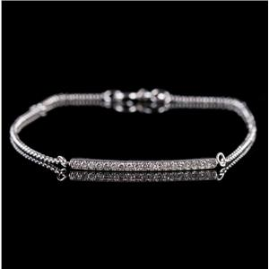 14k White Gold Single Round Cut Diamond Bar Style Bracelet .14ctw