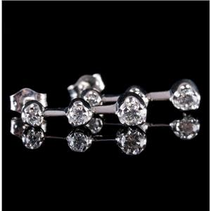 14k White Gold Round Cut Diamond Dangle Earrings .52ctw